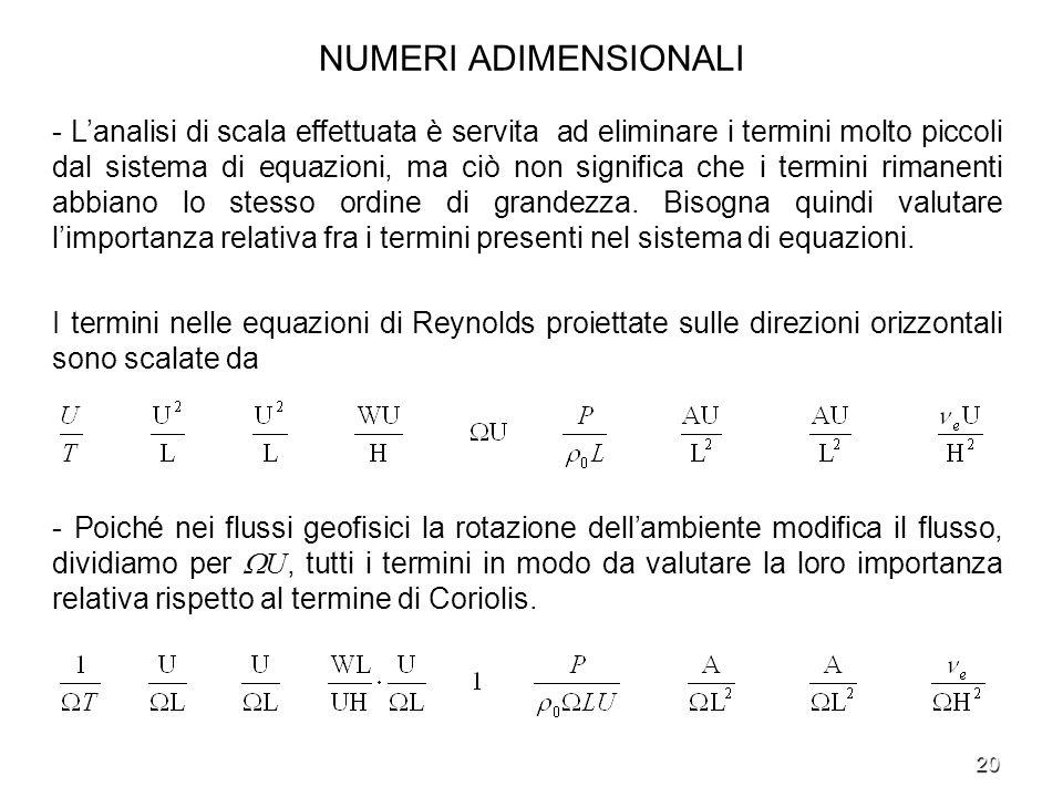 20 NUMERI ADIMENSIONALI - Lanalisi di scala effettuata è servita ad eliminare i termini molto piccoli dal sistema di equazioni, ma ciò non significa c