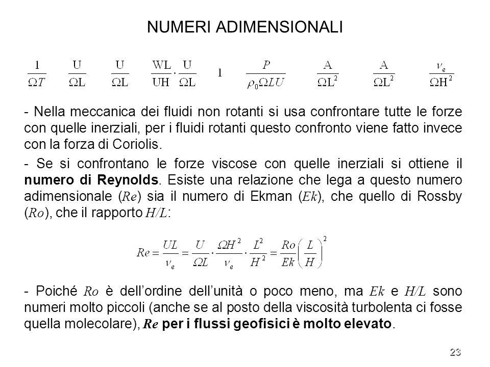 23 NUMERI ADIMENSIONALI - Nella meccanica dei fluidi non rotanti si usa confrontare tutte le forze con quelle inerziali, per i fluidi rotanti questo c