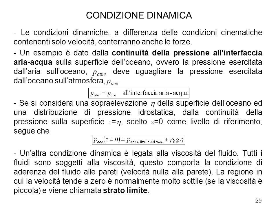 29 CONDIZIONE DINAMICA - Le condizioni dinamiche, a differenza delle condizioni cinematiche contenenti solo velocità, conterranno anche le forze. - Un