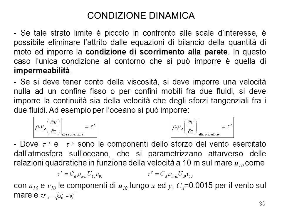 30 CONDIZIONE DINAMICA - Se tale strato limite è piccolo in confronto alle scale dinteresse, è possibile eliminare lattrito dalle equazioni di bilanci