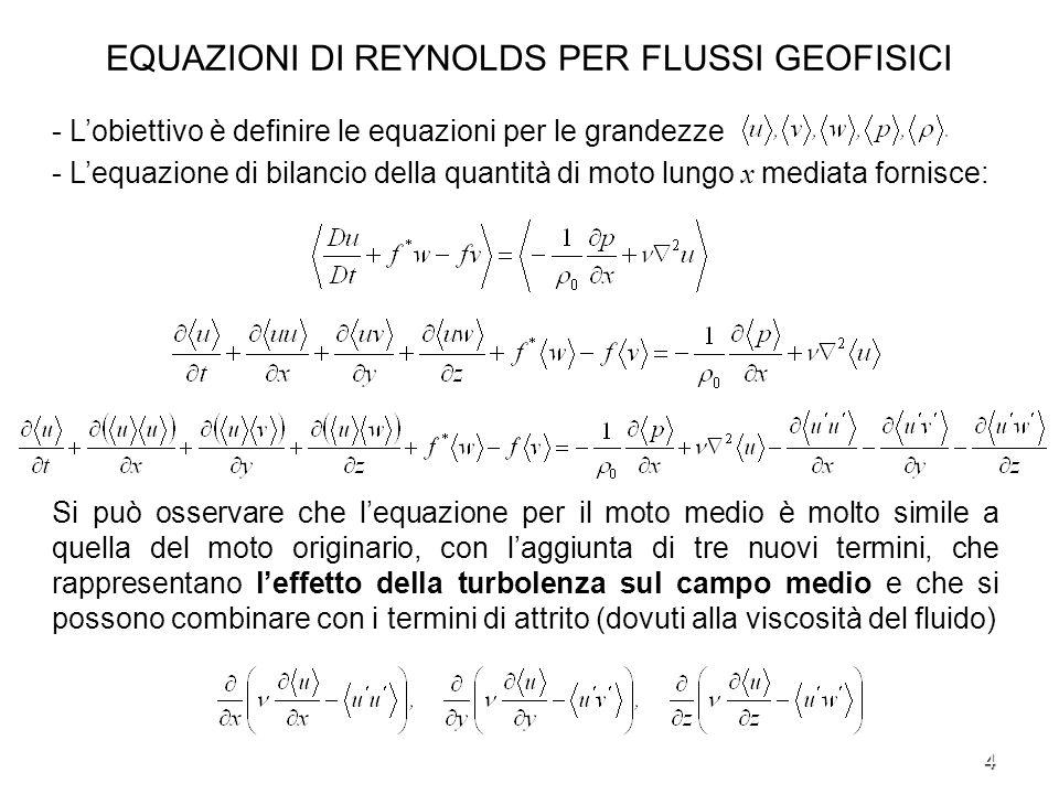 5 EQUAZIONI DI REYNOLDS PER FLUSSI GEOFISICI - La turbolenza ha un effetto analogo alla viscosità, ovvero tende a rallentare il flusso e può essere interpretata come uno sforzo dovuto alla turbolenza.