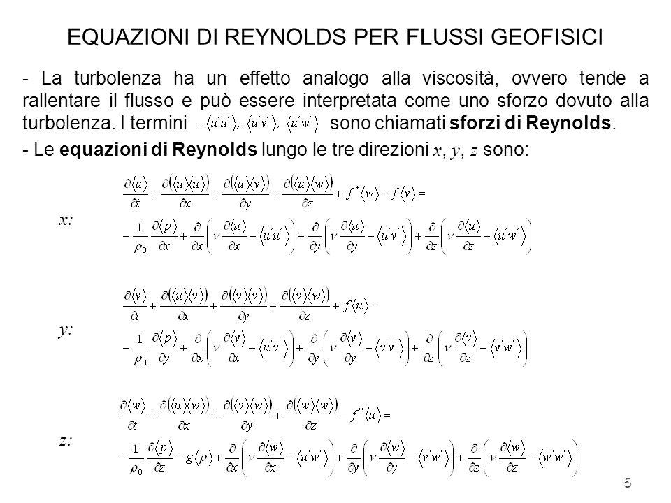 16 ANALISI DI SCALA PER LE EQUAZIONI DI REYNOLDS Equazione di Reynolds lungo la direzione z : 3) Si dimostra che 4) Facendo il rapporto fra il termine di Coriolis e quello del gradiente di pressione e ricordando lespressione P = 0 LU, si dimostra che il termine di Coriolis e di conseguenza tutti i termini a primo membro sono trascurabili rispetto al gradiente di pressione.