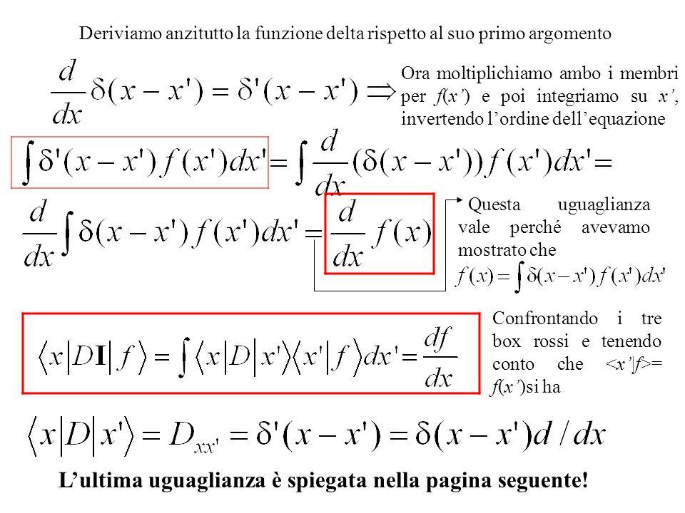 Deriviamo anzitutto la funzione delta rispetto al suo primo argomento Confrontando i tre box rossi e tenendo conto che = f(x)si ha Lultima uguaglianza è spiegata nella pagina seguente.