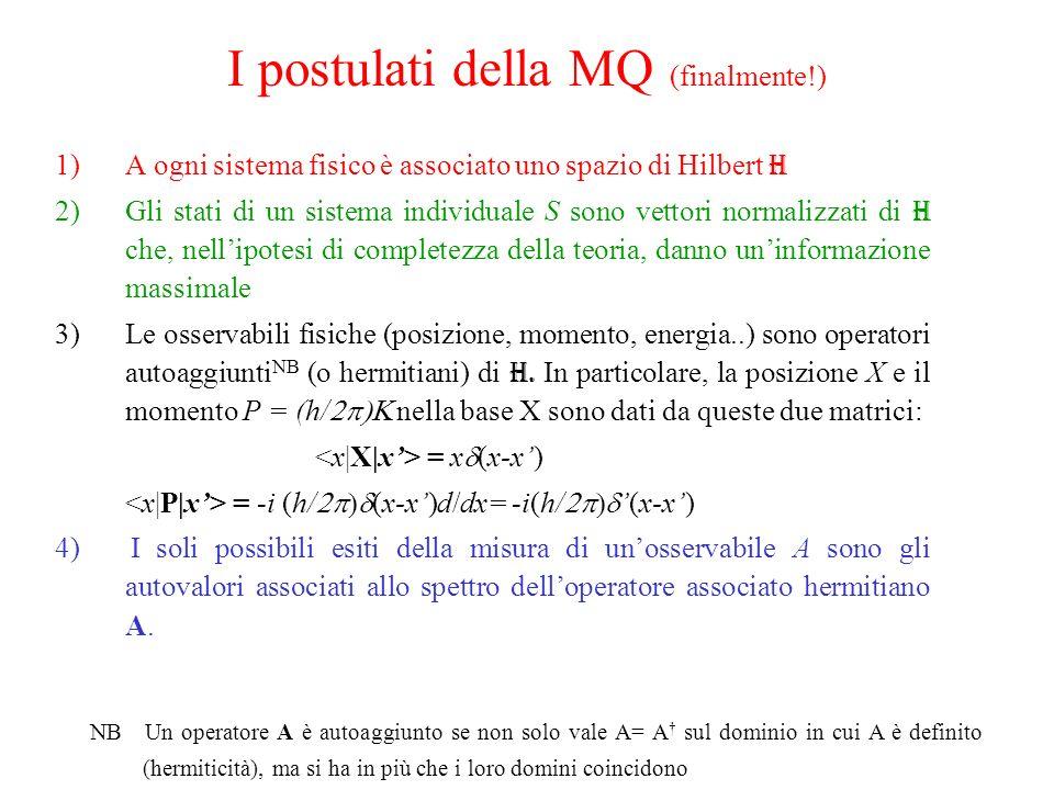 I postulati della MQ (finalmente!) 1)A ogni sistema fisico è associato uno spazio di Hilbert H 2)Gli stati di un sistema individuale S sono vettori normalizzati di H che, nellipotesi di completezza della teoria, danno uninformazione massimale 3)Le osservabili fisiche (posizione, momento, energia..) sono operatori autoaggiunti NB (o hermitiani) di H.