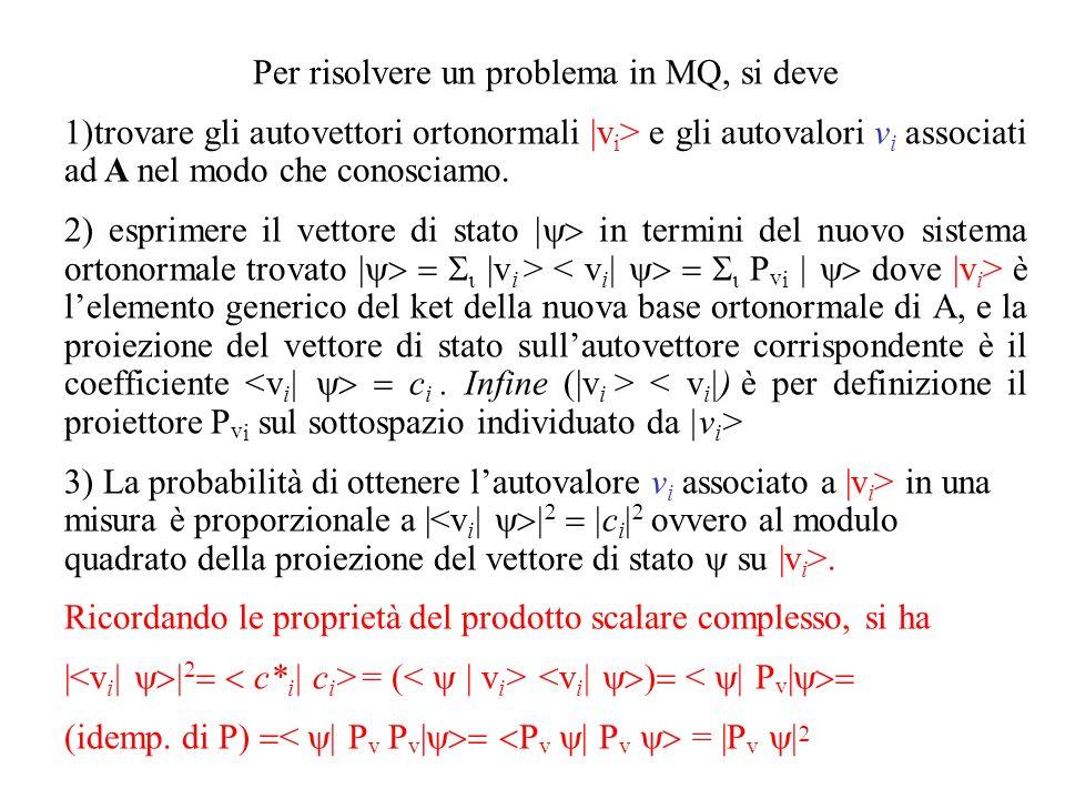 Per risolvere un problema in MQ, si deve 1)trovare gli autovettori ortonormali |v i > e gli autovalori v i associati ad A nel modo che conosciamo.