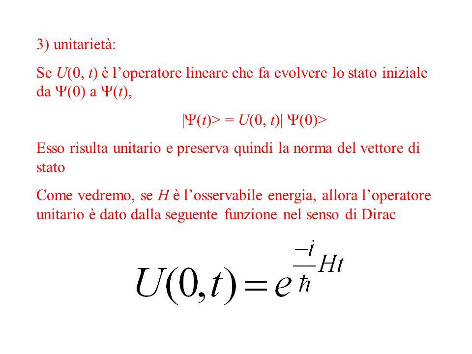 unitarietà: Se U(0, t) è loperatore lineare che fa evolvere lo stato iniziale da (0) a (t), | (t)> = U(0, t)| (0)> Esso risulta unitario e preserva quindi la norma del vettore di stato Come vedremo, se H è losservabile energia, allora loperatore unitario è dato dalla seguente funzione nel senso di Dirac