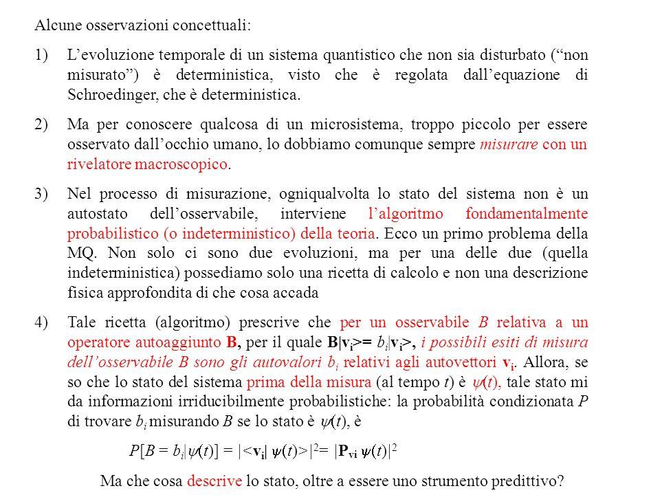 Alcune osservazioni concettuali: 1)Levoluzione temporale di un sistema quantistico che non sia disturbato (non misurato) è deterministica, visto che è regolata dallequazione di Schroedinger, che è deterministica.