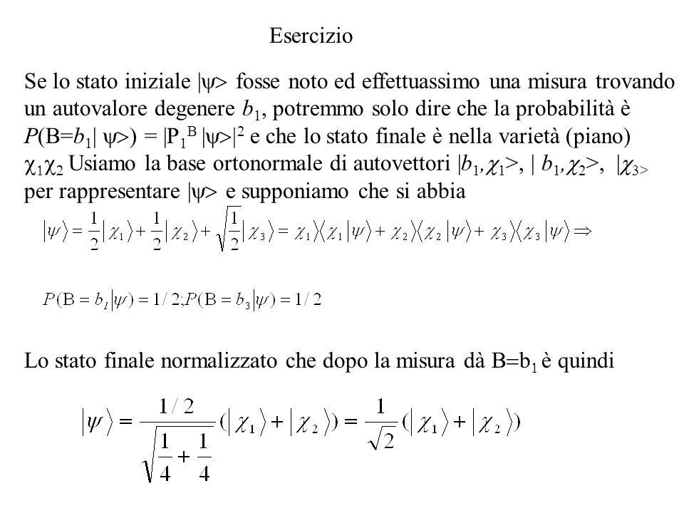Se lo stato iniziale | fosse noto ed effettuassimo una misura trovando un autovalore degenere b 1, potremmo solo dire che la probabilità è P(B=b 1 | ) = |P 1 B | e che lo stato finale è nella varietà (piano) Usiamo la base ortonormale di autovettori |b 1, 1 >, | b 1, 2 >, | 3> per rappresentare | e supponiamo che si abbia Esercizio Lo stato finale normalizzato che dopo la misura dà b è quindi