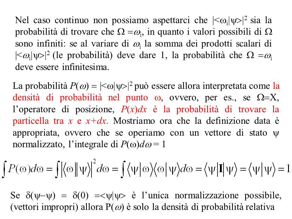Nel caso continuo non possiamo aspettarci che |< i sia la probabilità di trovare che i, in quanto i valori possibili di sono infiniti: se al variare di i la somma dei prodotti scalari di |< i (le probabilità) deve dare 1, la probabilità che i deve essere infinitesima.