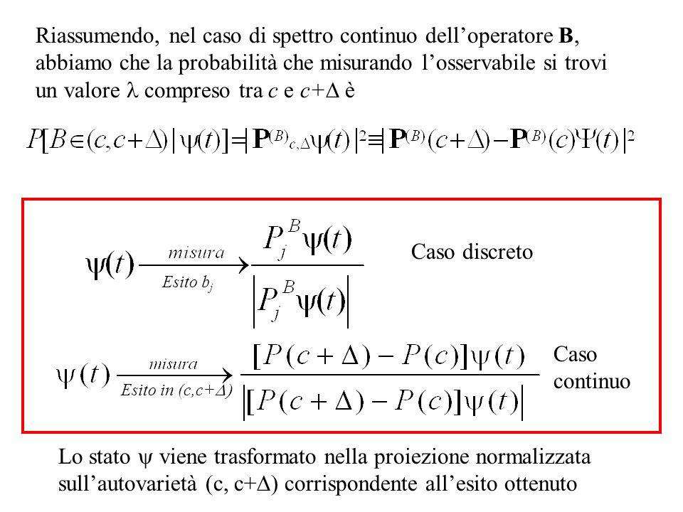 Riassumendo, nel caso di spettro continuo delloperatore B, abbiamo che la probabilità che misurando losservabile si trovi un valore compreso tra c e c+ è Esito in (c,c+ Lo stato viene trasformato nella proiezione normalizzata sullautovarietà (c, c+ corrispondente allesito ottenuto Esito b j Caso discreto Caso continuo