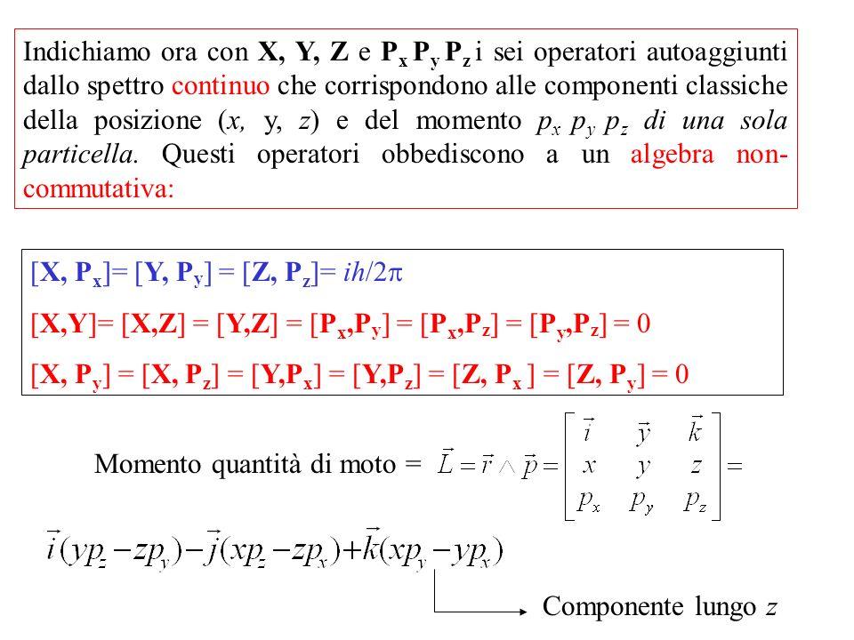 Indichiamo ora con X, Y, Z e P x P y P z i sei operatori autoaggiunti dallo spettro continuo che corrispondono alle componenti classiche della posizione (x, y, z) e del momento p x p y p z di una sola particella.