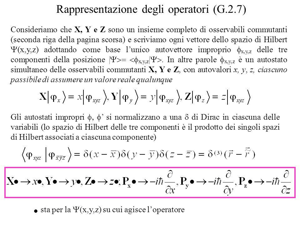 Consideriamo che X, Y e Z sono un insieme completo di osservabili commutanti (seconda riga della pagina scorsa) e scriviamo ogni vettore dello spazio di Hilbert (x,y,z) adottando come base lunico autovettore improprio x,y,z delle tre componenti della posizione | x,y,z |.