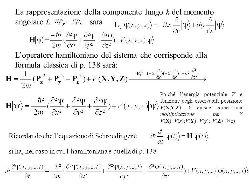 La rappresentazione della componente lungo k del momento angolare L sarà Loperatore hamiltoniano del sistema che corrisponde alla formula classica di p.