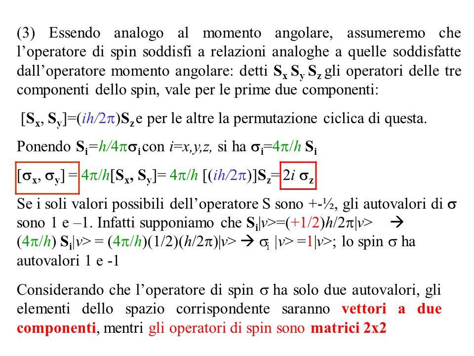(3) Essendo analogo al momento angolare, assumeremo che loperatore di spin soddisfi a relazioni analoghe a quelle soddisfatte dalloperatore momento angolare: detti S x S y S z gli operatori delle tre componenti dello spin, vale per le prime due componenti: [S x, S y ]=(ih/ S z e per le altre la permutazione ciclica di questa.