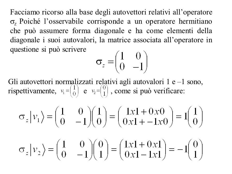Facciamo ricorso alla base degli autovettori relativi alloperatore z Poiché losservabile corrisponde a un operatore hermitiano che può assumere forma