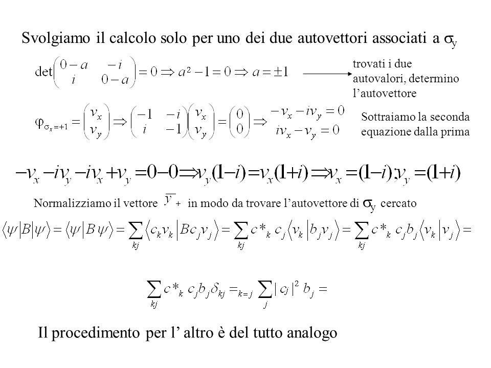 Svolgiamo il calcolo solo per uno dei due autovettori associati a y trovati i due autovalori, determino lautovettore Sottraiamo la seconda equazione dalla prima Normalizziamo il vettore in modo da trovare lautovettore di y cercato Il procedimento per l altro è del tutto analogo