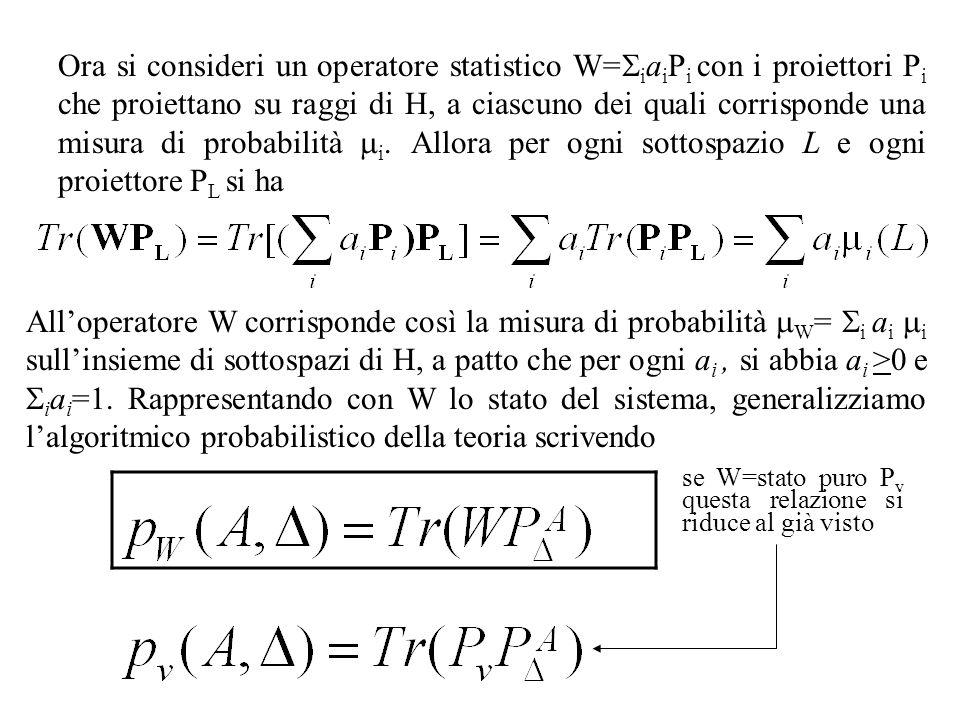Ora si consideri un operatore statistico W= i a i P i con i proiettori P i che proiettano su raggi di H, a ciascuno dei quali corrisponde una misura di probabilità i.