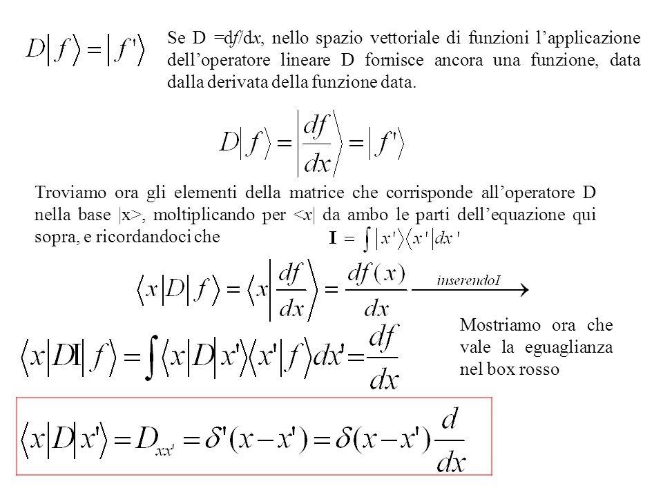 Se D =df/dx, nello spazio vettoriale di funzioni lapplicazione delloperatore lineare D fornisce ancora una funzione, data dalla derivata della funzion