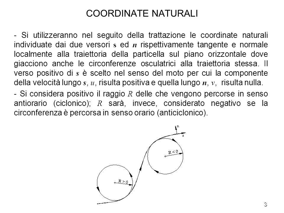 3 COORDINATE NATURALI - Si utilizzeranno nel seguito della trattazione le coordinate naturali individuate dai due versori s ed n rispettivamente tange