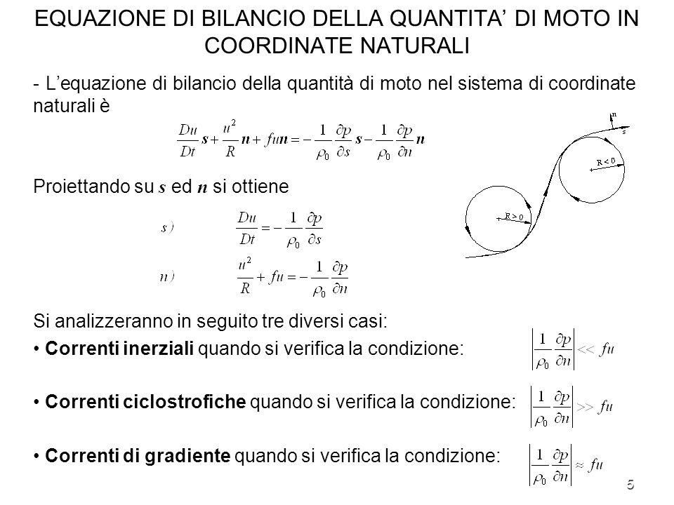 5 EQUAZIONE DI BILANCIO DELLA QUANTITA DI MOTO IN COORDINATE NATURALI - Lequazione di bilancio della quantità di moto nel sistema di coordinate natura