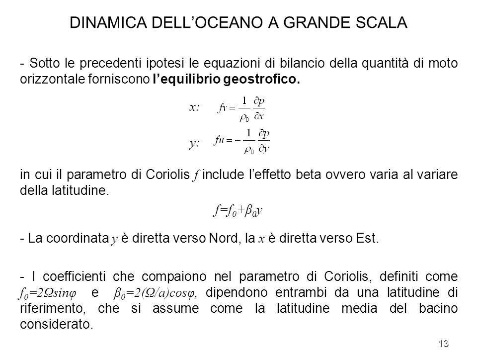 13 DINAMICA DELLOCEANO A GRANDE SCALA - Sotto le precedenti ipotesi le equazioni di bilancio della quantità di moto orizzontale forniscono lequilibrio