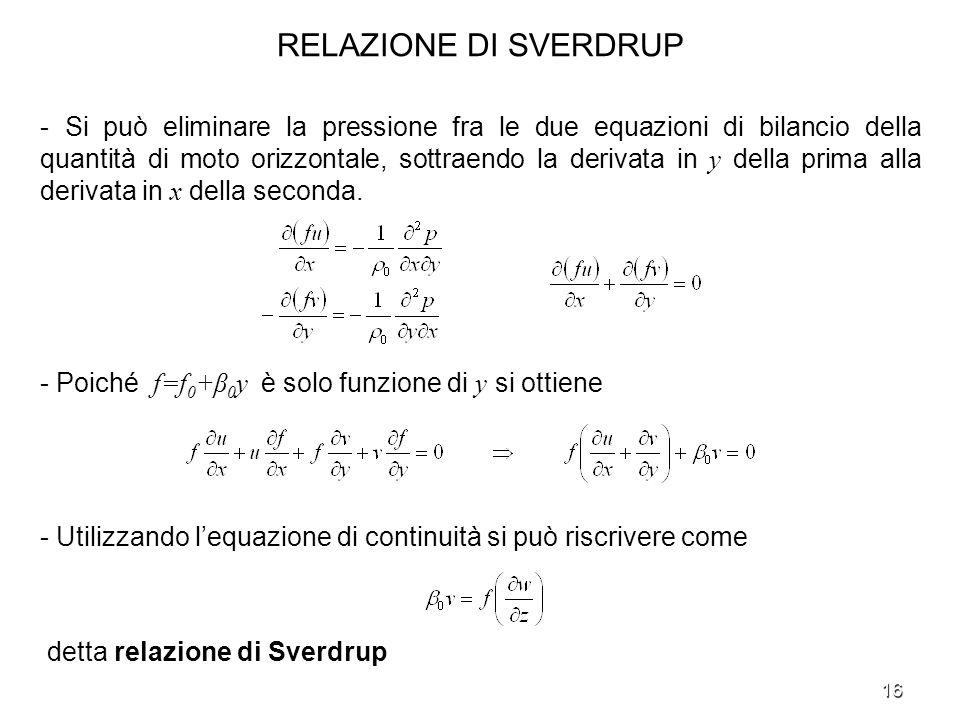 16 RELAZIONE DI SVERDRUP - Si può eliminare la pressione fra le due equazioni di bilancio della quantità di moto orizzontale, sottraendo la derivata i