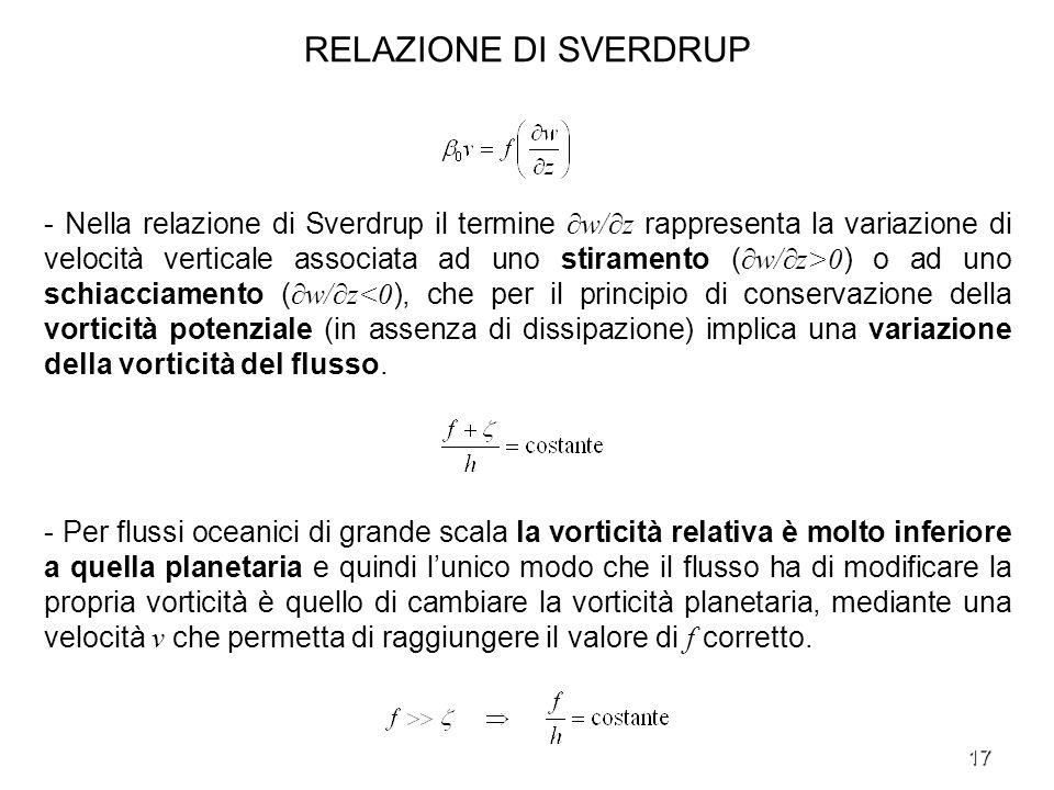 17 RELAZIONE DI SVERDRUP - Nella relazione di Sverdrup il termine w/z rappresenta la variazione di velocità verticale associata ad uno stiramento ( w/