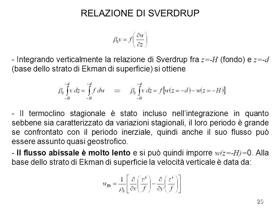 20 RELAZIONE DI SVERDRUP - Integrando verticalmente la relazione di Sverdrup fra z=-H (fondo) e z=-d (base dello strato di Ekman di superficie) si ott