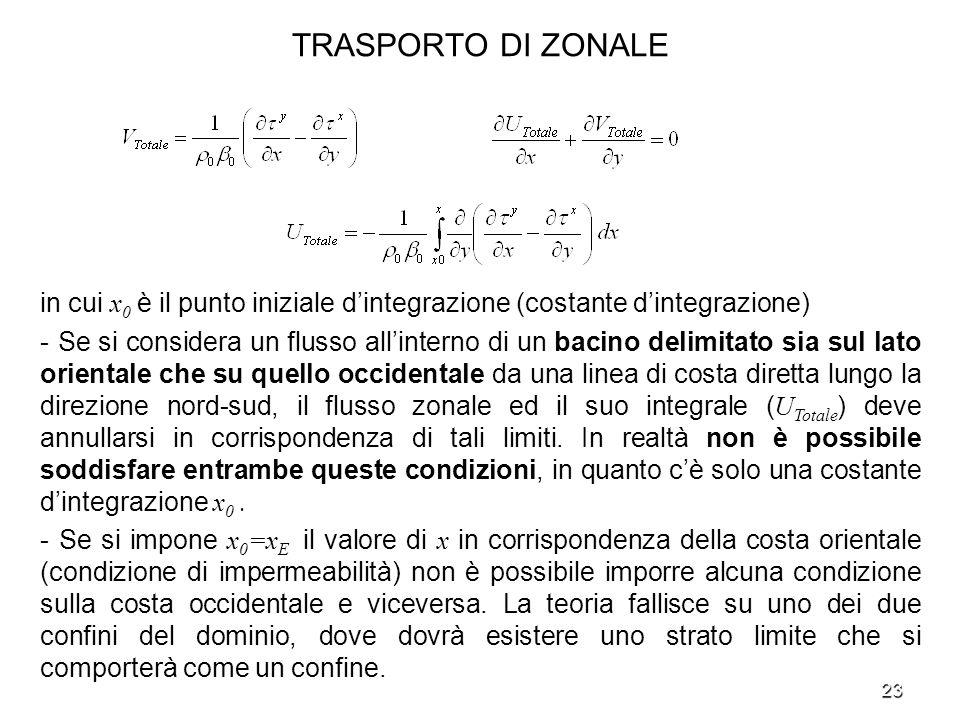 23 TRASPORTO DI ZONALE in cui x 0 è il punto iniziale dintegrazione (costante dintegrazione) - Se si considera un flusso allinterno di un bacino delim