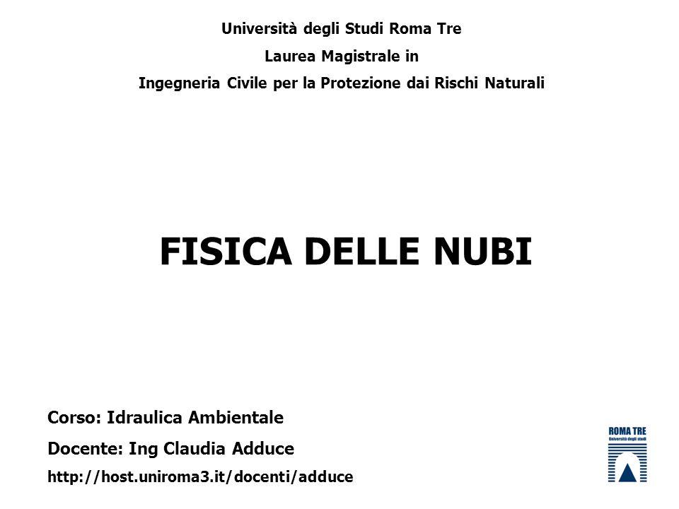 FISICA DELLE NUBI Università degli Studi Roma Tre Laurea Magistrale in Ingegneria Civile per la Protezione dai Rischi Naturali Corso: Idraulica Ambien