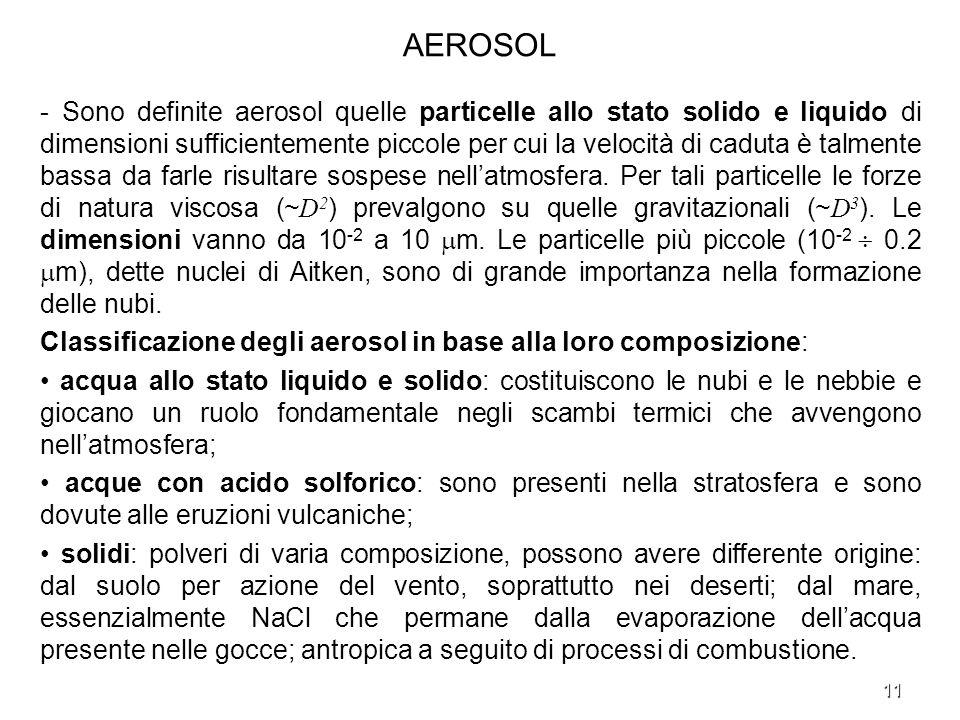 11 AEROSOL - Sono definite aerosol quelle particelle allo stato solido e liquido di dimensioni sufficientemente piccole per cui la velocità di caduta