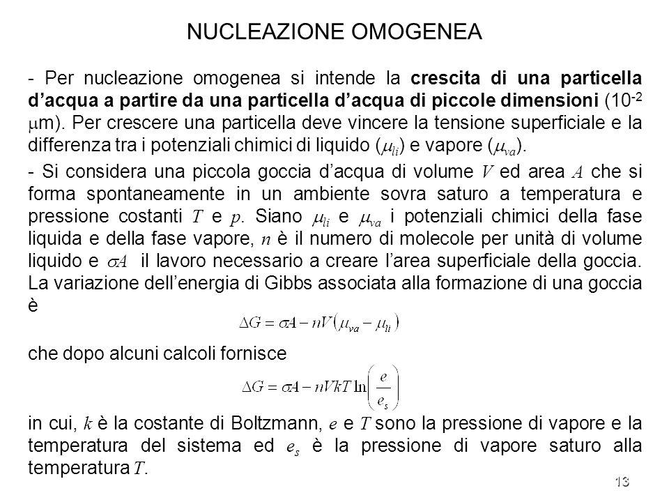 13 NUCLEAZIONE OMOGENEA - Per nucleazione omogenea si intende la crescita di una particella dacqua a partire da una particella dacqua di piccole dimen