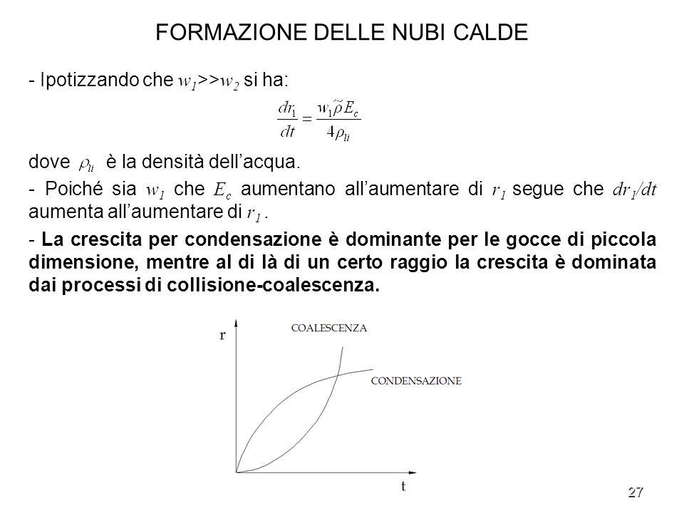 27 FORMAZIONE DELLE NUBI CALDE - Ipotizzando che w 1 >> w 2 si ha: dove è la densità dellacqua. - Poiché sia w 1 che E c aumentano allaumentare di r 1