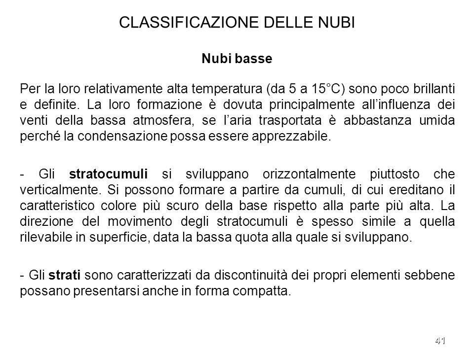 41 CLASSIFICAZIONE DELLE NUBI Nubi basse Per la loro relativamente alta temperatura (da 5 a 15°C) sono poco brillanti e definite. La loro formazione è