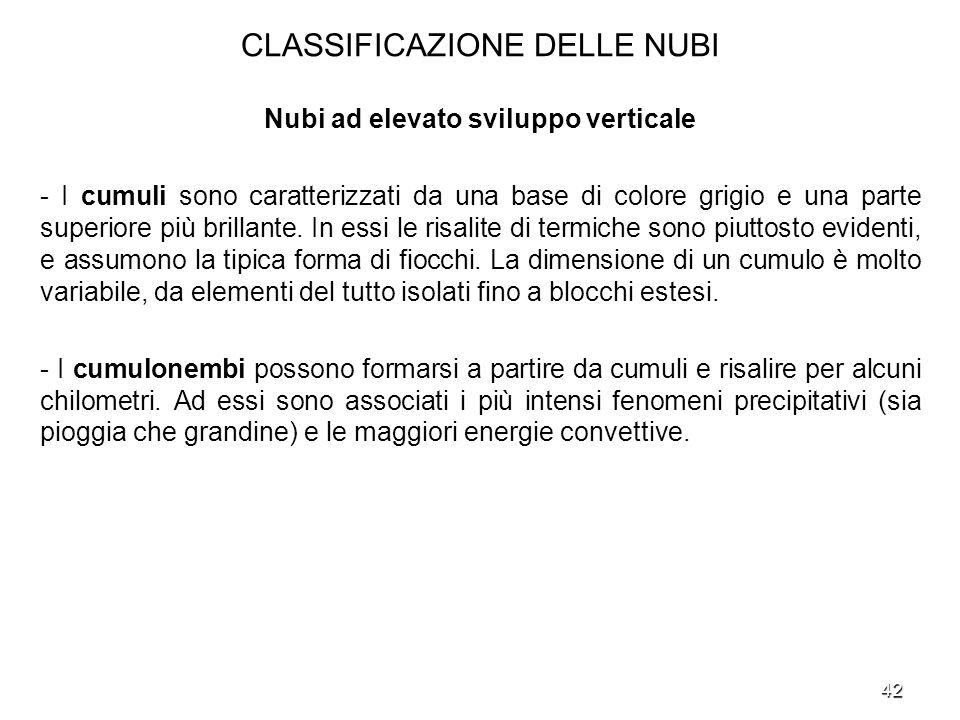 42 CLASSIFICAZIONE DELLE NUBI Nubi ad elevato sviluppo verticale - I cumuli sono caratterizzati da una base di colore grigio e una parte superiore più