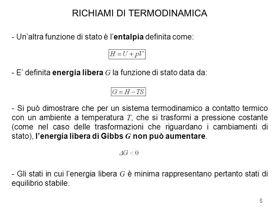 7 RICHIAMI DI TERMODINAMICA - Lacqua è presente nellatmosfera in tutti e tre i suoi possibili stati: solido, liquido e gassoso.