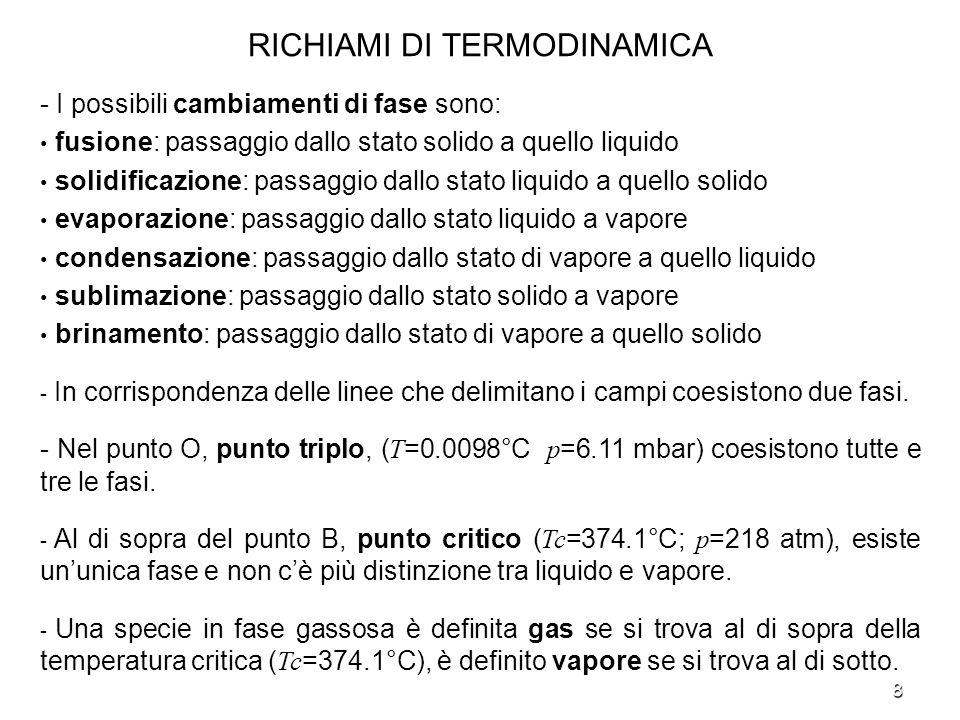9 RICHIAMI DI TERMODINAMICA - Il vapor dacqua nellatmosfera è miscelato con laria.