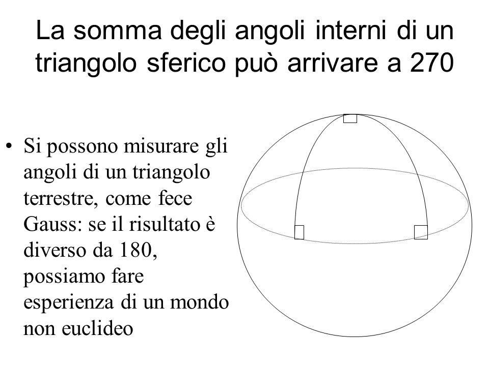 La somma degli angoli interni di un triangolo sferico può arrivare a 270 Si possono misurare gli angoli di un triangolo terrestre, come fece Gauss: se