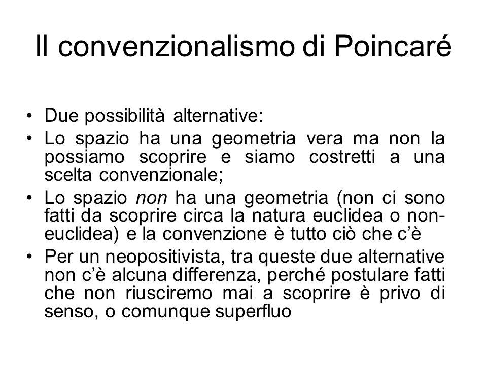 Il convenzionalismo di Poincaré Due possibilità alternative: Lo spazio ha una geometria vera ma non la possiamo scoprire e siamo costretti a una scelt
