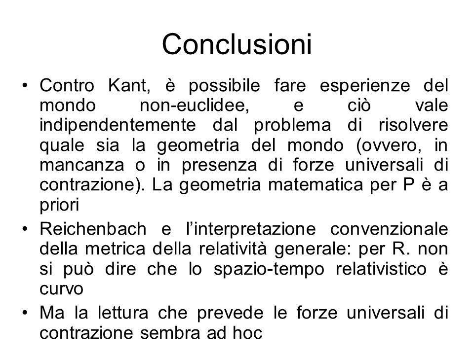 Conclusioni Contro Kant, è possibile fare esperienze del mondo non-euclidee, e ciò vale indipendentemente dal problema di risolvere quale sia la geome