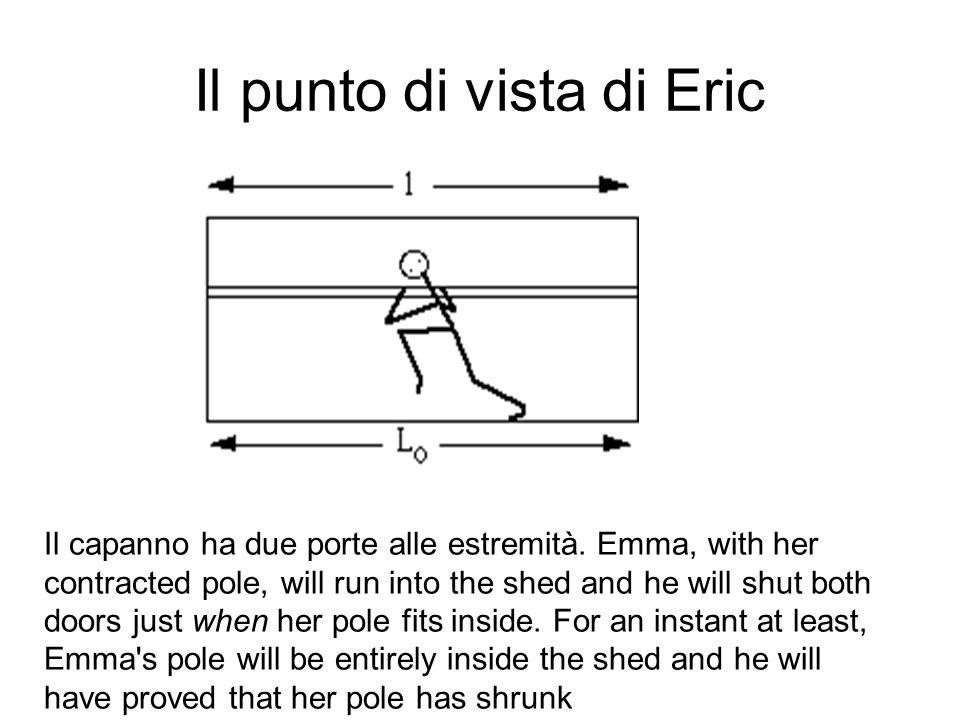 Il punto di vista di Eric Il capanno ha due porte alle estremità. Emma, with her contracted pole, will run into the shed and he will shut both doors j