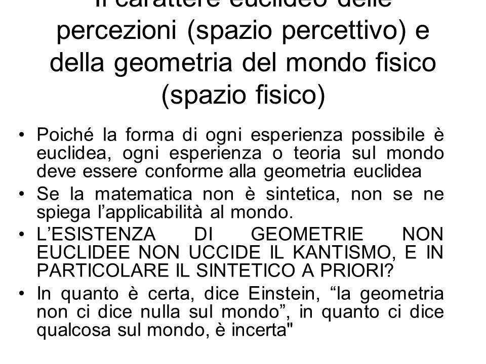 Il carattere euclideo delle percezioni (spazio percettivo) e della geometria del mondo fisico (spazio fisico) Poiché la forma di ogni esperienza possi