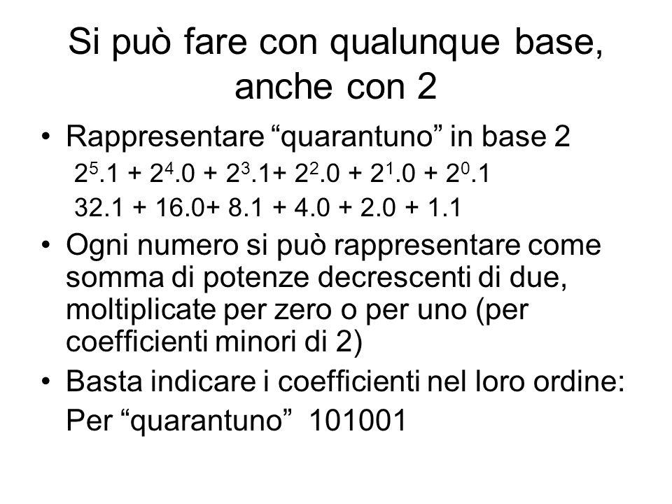 Si può fare con qualunque base, anche con 2 Rappresentare quarantuno in base 2 2 5.1 + 2 4.0 + 2 3.1+ 2 2.0 + 2 1.0 + 2 0.1 32.1 + 16.0+ 8.1 + 4.0 + 2.0 + 1.1 Ogni numero si può rappresentare come somma di potenze decrescenti di due, moltiplicate per zero o per uno (per coefficienti minori di 2) Basta indicare i coefficienti nel loro ordine: Per quarantuno 101001