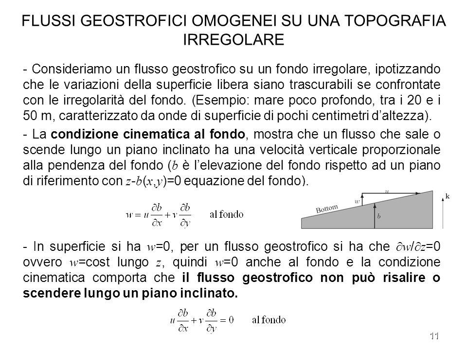 11 FLUSSI GEOSTROFICI OMOGENEI SU UNA TOPOGRAFIA IRREGOLARE - Consideriamo un flusso geostrofico su un fondo irregolare, ipotizzando che le variazioni