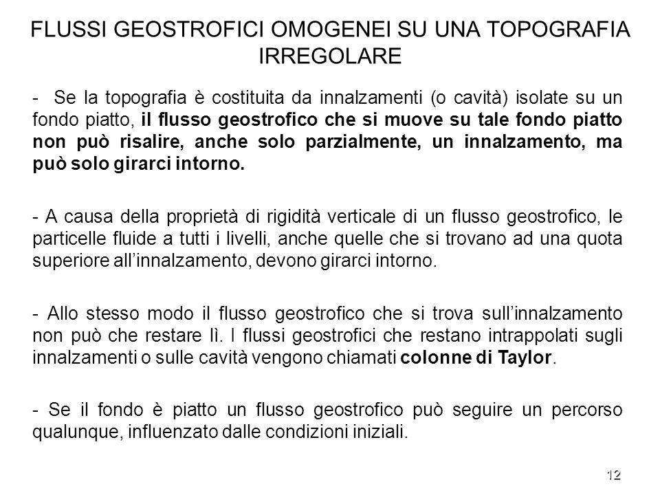 12 FLUSSI GEOSTROFICI OMOGENEI SU UNA TOPOGRAFIA IRREGOLARE - Se la topografia è costituita da innalzamenti (o cavità) isolate su un fondo piatto, il