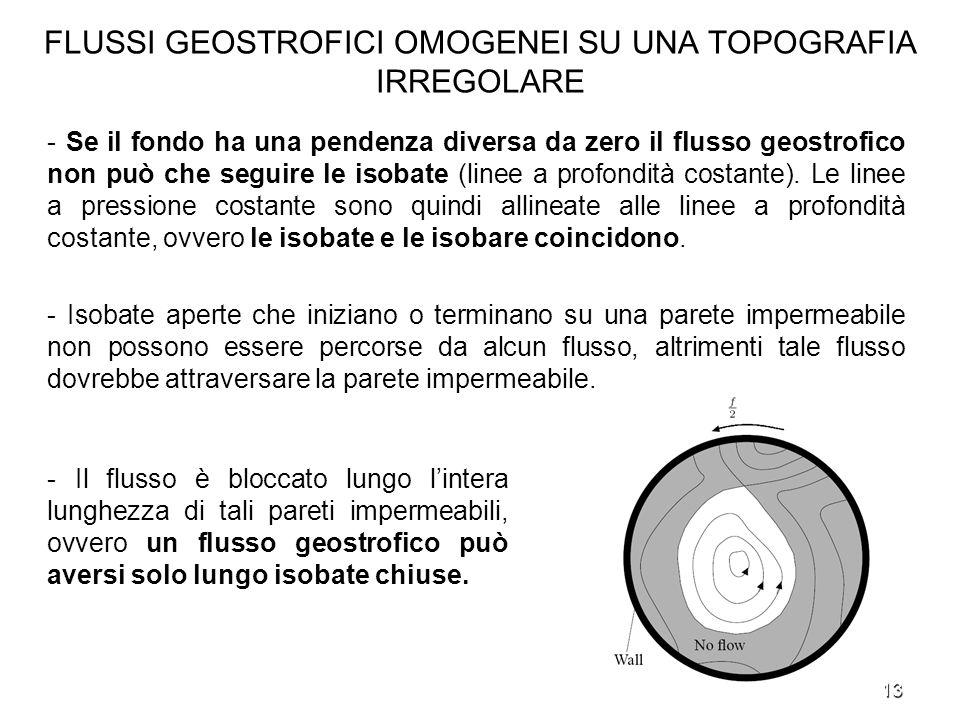 13 FLUSSI GEOSTROFICI OMOGENEI SU UNA TOPOGRAFIA IRREGOLARE - Se il fondo ha una pendenza diversa da zero il flusso geostrofico non può che seguire le