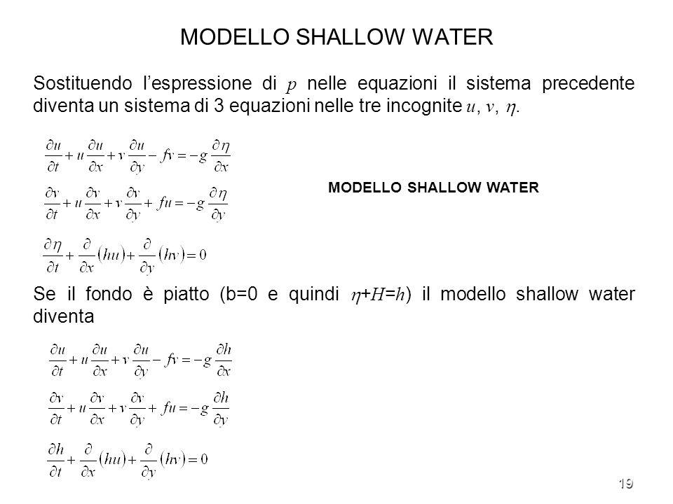 19 MODELLO SHALLOW WATER Sostituendo lespressione di p nelle equazioni il sistema precedente diventa un sistema di 3 equazioni nelle tre incognite u,