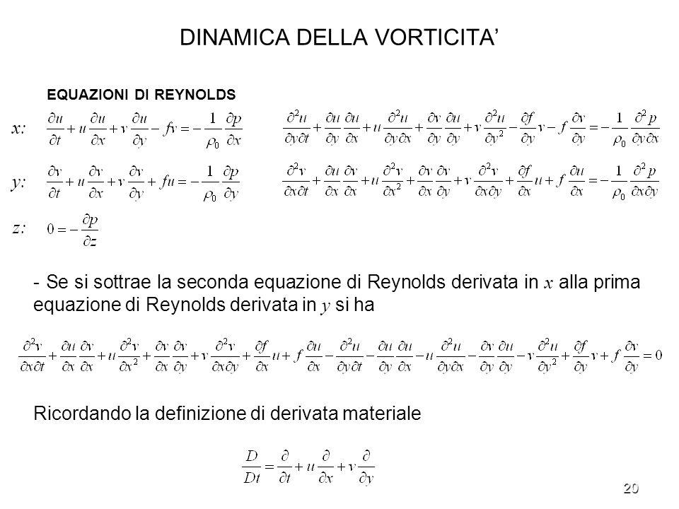 20 DINAMICA DELLA VORTICITA - Se si sottrae la seconda equazione di Reynolds derivata in x alla prima equazione di Reynolds derivata in y si ha Ricord