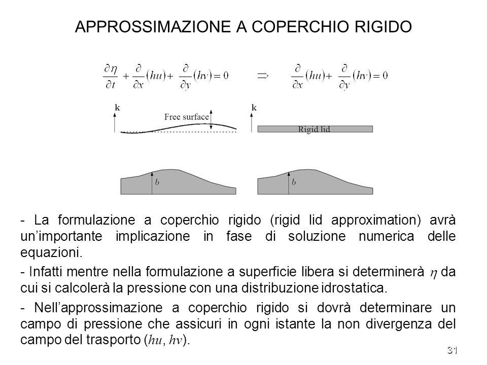 31 APPROSSIMAZIONE A COPERCHIO RIGIDO - La formulazione a coperchio rigido (rigid lid approximation) avrà unimportante implicazione in fase di soluzio
