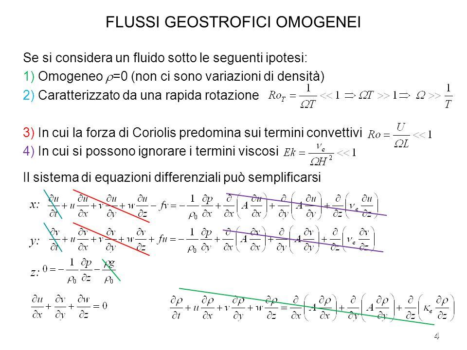 4 FLUSSI GEOSTROFICI OMOGENEI Se si considera un fluido sotto le seguenti ipotesi: 1) Omogeneo =0 (non ci sono variazioni di densità) 2) Caratterizzat